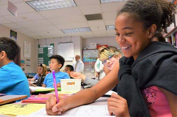 Sierra Heights Julianna Dauble class close girl writing room to write 9_14_2017